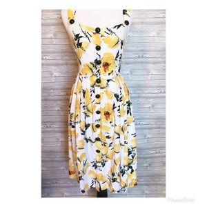 4 for $44 lemon floral boutique button down dress
